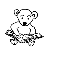 Bücherbär - Buch, Bücher, Bär, sitzend, lesen, Leseförderung, Lesepass, Illustration