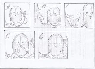 Picture story Bildergeschichte Comic - Eule, Bildergeschichte, kreatives Schreiben, Schreibanlass, Darstellung, Bilder, Zeichnungen