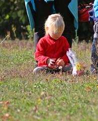 Herbstspiel - Herbst, Spiel, spielen, herbstlich, Jahreszeit, Mädchen, Kind, kindlich, sitzen, Herbstlaub sammeln, Laub, sammeln