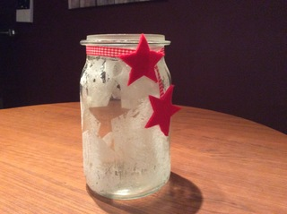 Winter-Glas #2 - Winter, Weihnachten, Glas, Gläser, Dekoration, Deko, Bastelei, basteln, besprühen, Spray, Deko-Schnee, Kunst-Schnee, Stern, Sterne