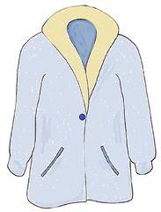 Mantel farbig - Mantel, coat, clothes, Kleidung, Einzahl, anziehen, Bekleidung, Zeichnung, Kleidungsstück, Kragen, Revers, wetterfest, warm, Knopf, zuknöpfen, Anlaut M