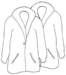 Mäntel sw - Mantel, Mäntel, coat, clothes, Kleidung, Mehrzahl, Plural, anziehen, Bekleidung, Zeichnung, Kleidungsstück, Kragen, Revers, wetterfest, warm, Knopf, zuknöpfen, Anlaut M