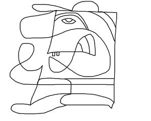 Herbert von Strich - Zeichnung, Strichzeichnung, Kunst, Künstler, Kopffigur, Figur, Kopf, Linienzeichnung, Linie