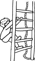 Klettern  sw - Turnen, Sport, Gerätturnen, Tau, klettern, Sprossenwand, Kind, Sportler, Zeichnung, Turner, Psychomotorik, bewegen, Bewegung, festhalten, aufsteigen, Verb, Leiter, spielen, probieren