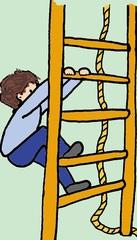 Klettern farbig - Turnen, Sport, Gerätturnen, Tau, klettern, Sprossenwand, Kind, Sportler, Zeichnung, Turner, Psychomotorik, bewegen, Bewegung, festhalten, aufsteigen, Verb, Leiter, spielen, probieren