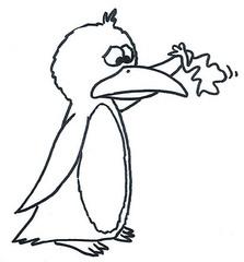 Pinguin 1 - Pinguin, Comic, Bild, Ausmalbild, Legefilm, Abschied, goodbye, Wasservogel, Vogel, Meer, Zeichnung, Clipart