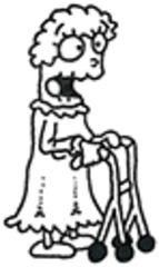 Alte Frau - Oma, Omi, Großmutter, alt, alte, Frau, Generation, Rollator, Gehhilfe, Mobilität, mobil, senil, Familie, Pflege, Heim, Pflegeheim, Altenheim, Comic, Mensch