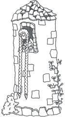 Rapunzel - Märchen, Gebrüder, Grimm, Rapunzel, Turm, Mittelalter, Sage, Erzählung, Haare, Zopf, geflochten, schön, lieblich, Maid, Minnesang, Minnegesang, Mädchen, Mädel, Frau, Anbetung, Ausmalbild, Cartoon, anmalen