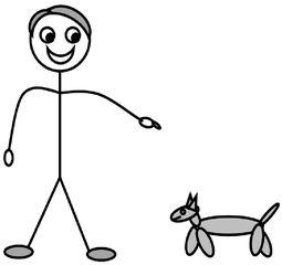 Personalpronomen #5 : es - Personalpronomen, es, Singular, Zeichnung, Clipart, DaF, Übung, Hündchen
