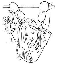 turnen am Klettergerüst - klettern, schaukeln, turnen, Turnerin, Sport, Sportlerin, Gerätturnen, Kind, Zeichnung, Psychomotorik, bewegen, Bewegung, Schwung, schwingen, hängen, Stange, spielen, toben, Spielplatz, probieren