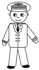 Pilot - Pilot, Flugzeugführer, fliegen, Urlaub, Flugzeug, Uniform, Mütze, Zeichnung, DaF, Anlaut P