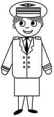 Pilotin - Pilotin, Flugzeugführerin, Flugzeug, fliegen, Urlaub, Uniform, Mütze, Zeichnung, DaF, Frau, weiblich