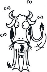 Kuh (Frontansicht) - Kuh, Rind, Euter, Milch, Milchvieh, Landwirtschaft, Comicfigur, Ausmalbild, Bauernhof, Weide