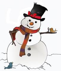 Schneemann - Schneemann, Winter, Zylinder, Anlaut Sch, Schnee, Schal