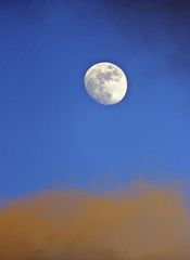 Mond im März - Mond, Abend, Nacht, Himmel, Dämmerung, Himmelskörper, leuchten, Mondphase, Licht, Wolken, zunehmend, hell, Astronomie, Himmel, Natur, Kontrast