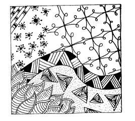 Kritzelmuster #1 - Kritzelmuster, Muster, Formen, Zeichnen, Konzentration, Zentangles, Zendangle, Zendoodle, Zendala