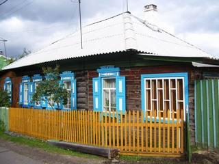 Russisches Holzhaus - Holzhaus, Sibirien, Tradition, Krasnoyarsk, Russland, Dorf, Haus, Zaun