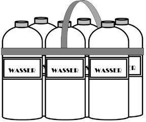 Sechserpack Mineralwasser - Wasser, Mineralwasser, Getränk, Flasche, PET-Flasche, Flaschen, sechs, Sechserpack, Sixpack, Henkel, Träger, tragen, Verpackung, Zeichnung