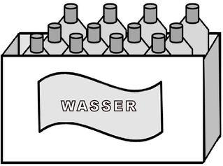 Kasten Wasser (zwölf Flaschen) - Wasser, Mineralwasser, Kasten, Flaschen, zwölf, Gebinde, Getränk, Zeichnung, Multiplikation, Dutzend, Wörter mit st