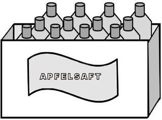 Kasten Apfelsaft (zwölf Flaschen) - Apfelsaft, Saft, Kasten, Flaschen, zwölf, Gebinde, Getränk, Zeichnung, Multiplikation, Dutzend