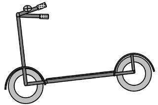 Roller s/w - Kinderroller, Tretroller, Trittroller, Kinderfahrzeug, Sportgerät, Spielzeug, Roller, Zeichnung, Anlaut R