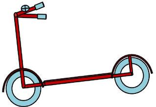 Roller, farbig - Kinderroller, Tretroller, Trittroller, Kinderfahrzeug, Sportgerät, Spielzeug, Roller, Zeichnung, Reifen, Klingel, bunt