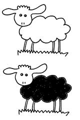 Schaf Zeichnung - Schaf, Klassenmaskottchen, schwarz, Einschulung, sheep, Schäfchen, Lamm, Lämmchen, Hornträger, Nutztier, Tier, Wolle, Cartoon, Zeichnung, Clipart
