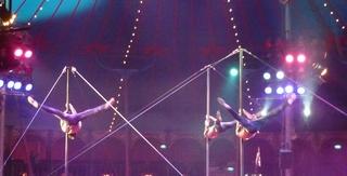 Akrobatik an Stangen - Zirkus, Wanderzirkus, Manege, Spielstätte, Vorführung, Akrobatik, Stangen