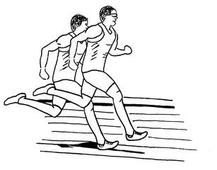 Zeichnung zwei Läufer sw - Lauf, laufen, Läufer, Sport, Sportler, Sprint, Sprinter, sprinten, trainieren, Training, Grundübung, Zeichnung, bewegen, Bewegung, Anspannung, anspannen, Leichtathletik, Leichtathlet, olympische Disziplin, rennen, Mehrzahl, Plural