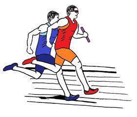 Strichzeichnung zwei Staffelläufer farbig - Staffel, Staffellauf, Staffelläufer, Lauf, laufen, Läufer, Sport, Sportler, Sprint, Sprinter, sprinten, trainieren, Training, Grundübung, Zeichnung, bewegen, Bewegung, Anspannung, anspannen, Leichtathletik, Leichtathlet, olympische Disziplin, rennen, Mehrzahl, Plural