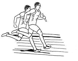 Strichzeichnung zwei Staffelläufer sw - Staffel, Staffellauf, Staffelläufer, Lauf, laufen, Läufer, Sport, Sportler, Sprint, Sprinter, sprinten, trainieren, Training, Grundübung, Zeichnung, bewegen, Bewegung, Anspannung, anspannen, Leichtathletik, Leichtathlet, olympische Disziplin, rennen, Mehrzahl, Plural
