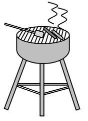 Grill - Grill, Barbecue, grillen, braten, essen, Rost, Würstchen, heiß, Anlaut G, Zeichnung, Garprozess, Wärmeleitung, Wärmestrahlung
