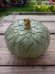 Geschnitzter Kürbis - Kürbis, Gemüse, Herbst, orange, Halloween, Jahreszeit, schnitzen, Herbstdekoration