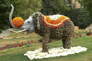 Kürbisdekoration #10 - Kürbis, Kürbisdekoration, Zirkus, Elefant, balancieren, Dressurshow