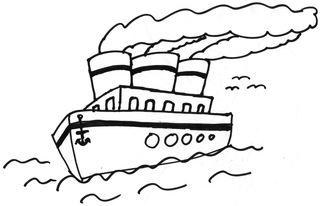 Schiff - Schiff, Boot, Ozeanriese, Meer, Wasser, Passagierschiff, Passagiere, Seefahrt, Urlaub, Anlaut Sch, Zeichnung, Schornstein, Reise, reisen, Deck, Bullauge, Rauch, Dampfschiff