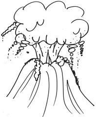 Vulkan - Vulkanismus, Vulkan, Ausbruch, Krater, Eruption, aktiv, Anlaut V, Berg, Feuer, Lava, Zeichnung