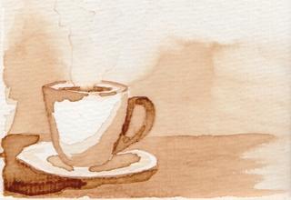 Kaffee gemalt - Kaffee, Tasse, Kaffeetasse, heiß, warm, Getränk, trinken