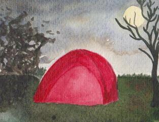 Zelt im Dunkeln, Reisesegen #4 - Zelt, Nacht, dunkel, Mond, Vollmond, Baum, kahl