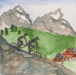 Tandem in den Bergen, Reisesegen #3 - Berge, Gebirge, Wege, Tandem, zwei, gemeinsam, bergab, bergauf, Radfahrer, Tour, Fahrrad, fahren, abwärts