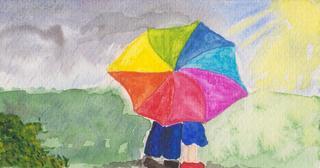 Regen und Sonne, Reisesegen #2 - Sonne, Sonnenschein, Regen, Regenschirm, Paar, Regenbogen, bunt