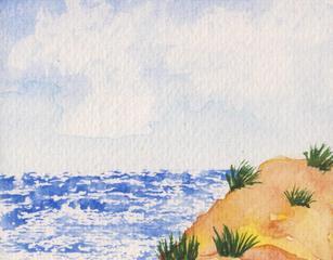 Am Strand, Reisesegen #1 - Strand, Wasser, Horizont, Düne, Sand, Himmel, Wolken, Wellen, Strandhafer