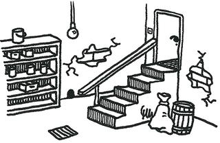 Keller - Keller, Kellergeschoss, Untergeschoss, Souterrain, basement, Regal, Treppe, Kellertreppe, Ausmalbild, ausmalen, Schreibanlass
