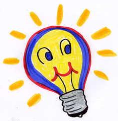 Glühbirne - Glühlampe, fröhlich, Licht, Elektrizität, leuchten, hell, Illustration