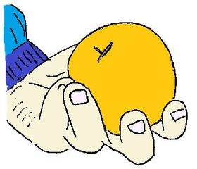 halten - Hand, halten, rund, Frucht, Finger, festhalten, Verb, Illustration, Zeichnung, Wortschatz, Wortbedeutung, geben, nehmen, reichen