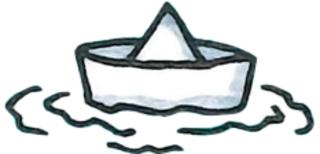 Papierboot - Papierboot, falten, gefaltet, Boot, Bötchen, Papierschiff, Schiffchen, Origami, Wasser, spielen, Badewanne, See, Teich, malen, zeichnen, weiter, weitermalen, weiterzeichnen