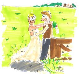 Hochzeit - Hochzeit, Paar, verliebt, Liebespaar, Vermählung, Heirat, Mann und Frau, Frühling, Liebe, Sommer, Brautkleid, Brautstrauß, Hochzeitsfoto, Feier, Freudenfest