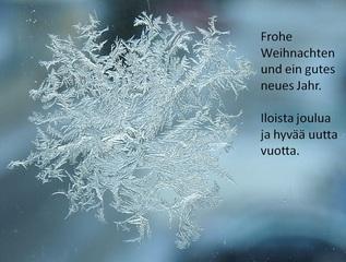 Weihnachtsgrüße - Deutsch, Finnisch, Schneeflocke, Weihnachtsgruß