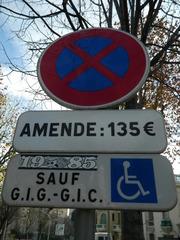 Amende - Frankreich, civilisation, Verkehrsschild, panneau, Halteverbot, amende, Geldstrafe