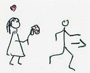 weggehen - Zeichnung, Weggehen, Liebe, abire, Latein, entfernen, abwenden