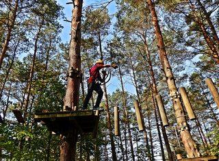 Kletterer im Klettergarten - Hochseilgarten, Mut, Angst, Wagnis, Seil, überqueren, Abgrund, Sport, Abenteuer, turnen, Freizeit, klettern, schwindelfrei, Höhe, Freizeitsport, frei, leer, schwingen, Plattform, mutig, helfen, vertrauen, sichern, Sicherheit, Team, Teamsport, überwinden, über sich hinauswachsen, Ethik, climp up